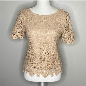Anthropologie Guest Editor beige lace top